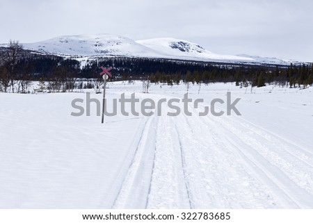 Snowmobile tracks in the Nordic mountains. Red cross to follow the trail. Forest ahead. - stock photo
