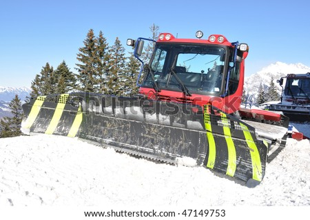 Snowplow in Pizol, famous Swiss skiing resort