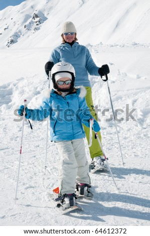 Snowshoeing with mother