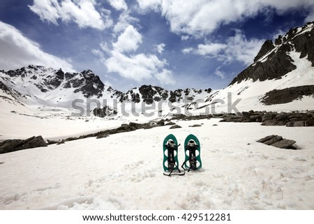 Snowshoes in snowy mountains. Turkey, Kachkar Mountains, highest part of Pontic Mountains. Wide angle view. - stock photo