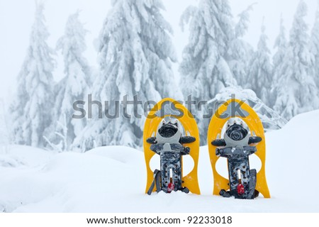Snowshoes in the snow in winter mountains - stock photo
