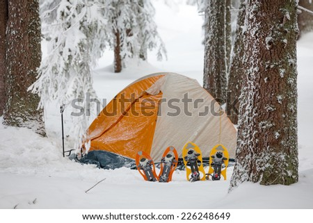 Snowshoes near tent in winter forest - stock photo