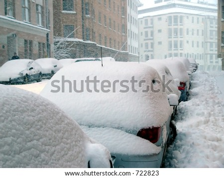 Snowstorm in city - stock photo