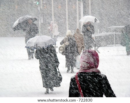 Snowstorm in Finland - stock photo