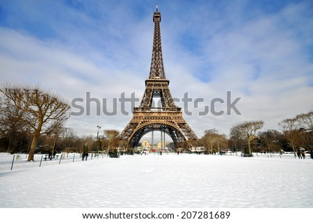 Snowstorm in Paris - stock photo