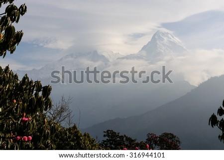 Snowy Annapurna View - stock photo