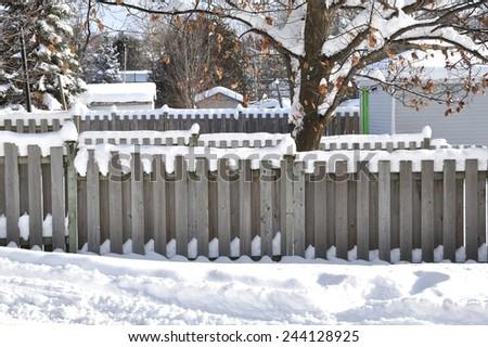 Snowy backyard - stock photo