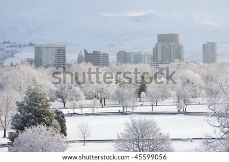 Snowy Boise morning - stock photo