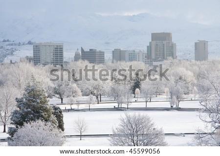 Snowy Boise morning - stock photo