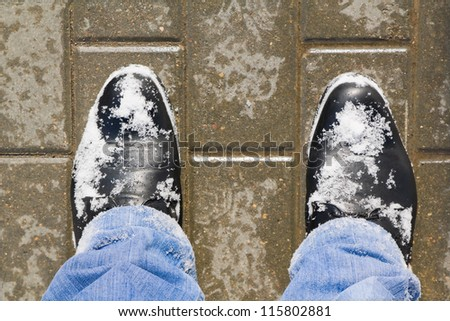 Snowy boots - stock photo