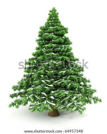 Snowy Christmas Tree - stock photo