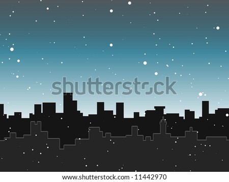 Snowy City skyline - stock photo