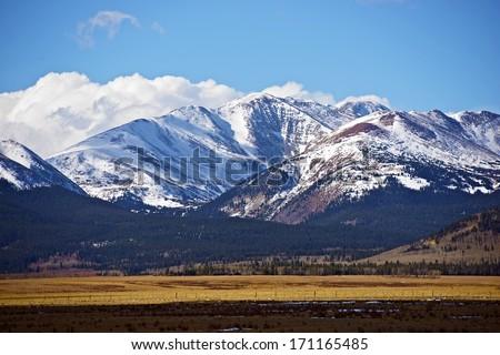 Snowy Colorado Mountains Near Fairplay, Colorado, United States. Rocky Mountains Landscape in a Late Fall. Colorado Photo Collection. - stock photo