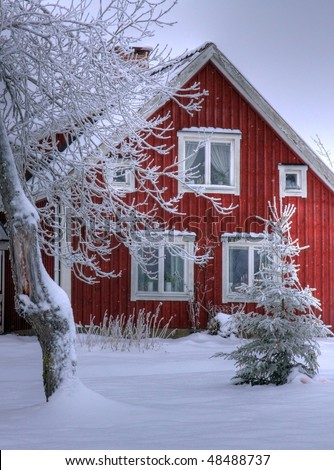 Snowy cottage in Smaland (Sweden) 03 - stock photo