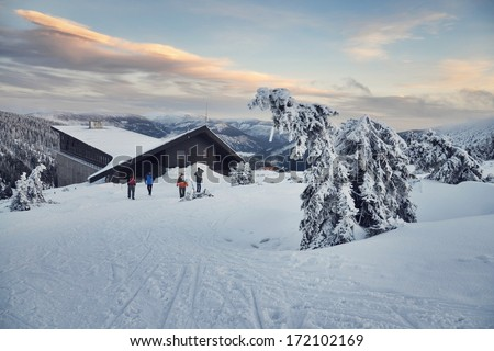 Snowy country near Labska bouda, Krkonose mountains, Czech republic - stock photo