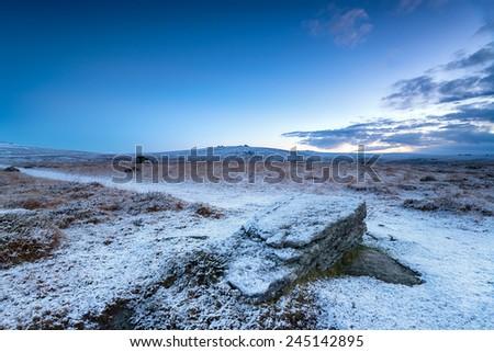 Snowy dawn on Dartmoor National park in Devon near Princetown - stock photo