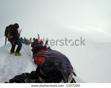 Snowy Descent into the Vallee Blanche 2 - stock photo