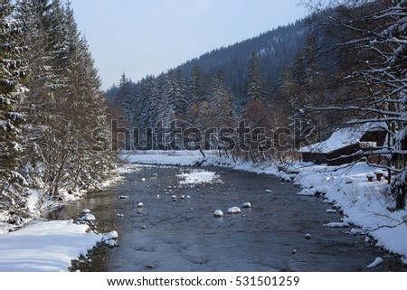 Snowy forest and river in the High Tatras mountains.