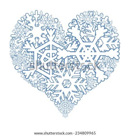 Snowy heart - stock photo