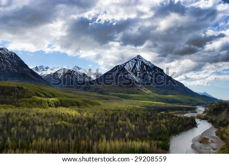 Snowy high mountains in Alaska