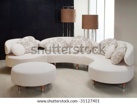 snowy interior with flor-lamp and  sofa - stock photo