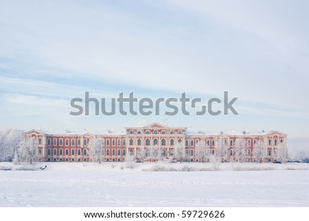 Snowy Jelgava palace, designed by architect Bartolomeo Francesco Rastrelli