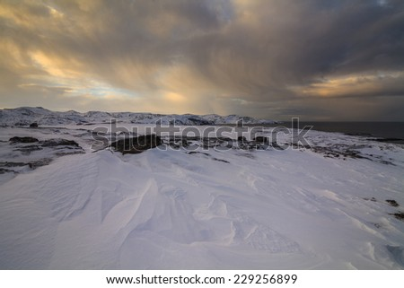 Snowy Landscape by the sea - stock photo
