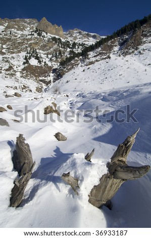 snowy landscape in Pyrenees