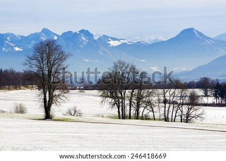 Snowy landscape in the Bavarian mountains in winter