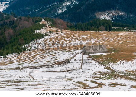 snowy landscape in the mountains