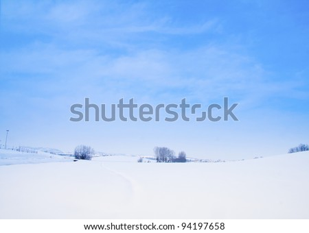 Snowy landscape of a little wood and hills on the back - stock photo