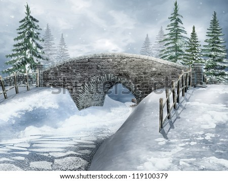 Snowy landscape with a bridge in the forest