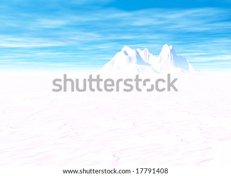 Snowy Landscape with Mountain in Far Distance on Horizon