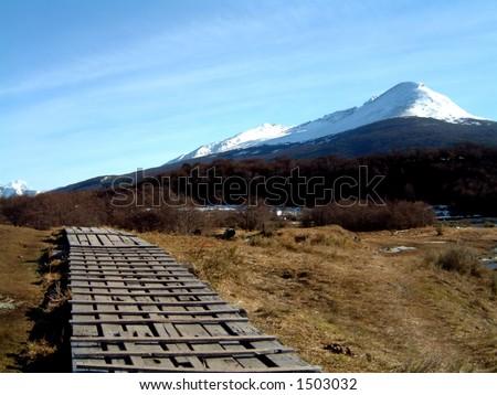 snowy mountain at ushuaia - stock photo