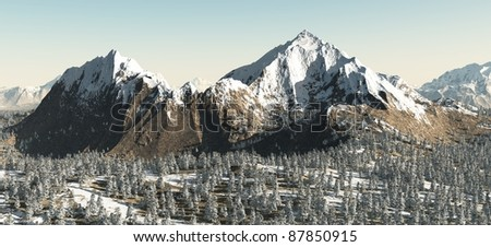 Snowy mountain landscape above a winter forest, 3d digitally rendered illustration
