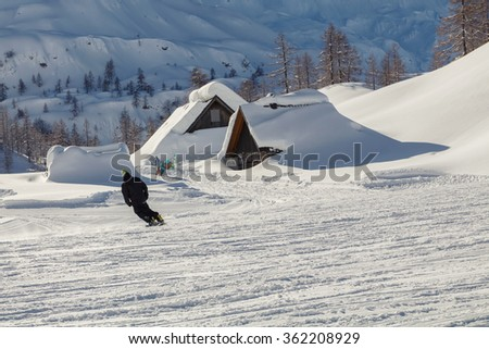 Snowy mountain landscape with the Julian Alps in Slovenia - stock photo