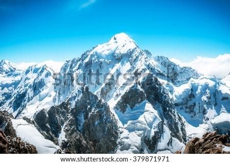 Snowy mountain peak Everest. National Park Nepal. - stock photo