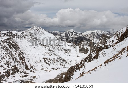 snowy mountain peaks in Colorado - stock photo