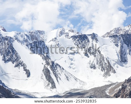 Snowy mountain range in Kyrgyzstan