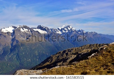Snowy Mountain Range, New Zealand - stock photo