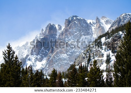 Snowy Mountain Range - This is a image of a beautiful snowy mountain landscape in Colorado.  - stock photo