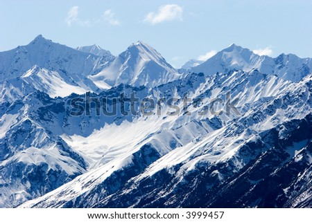 Snowy mountain tops in Alaska - stock photo