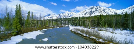 Snowy mountains and Chulitna River, Alaska - stock photo
