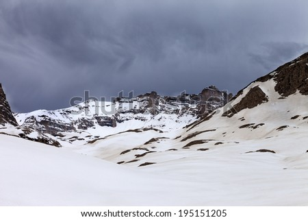 Snowy mountains before storm. Turkey, Central Taurus Mountains, Aladaglar (Anti Taurus) plateau Edigel (Yedi Goller) - stock photo