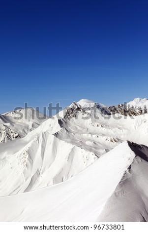 Snowy mountains. Caucasus Mountains, Georgia, ski resort Gudauri. - stock photo