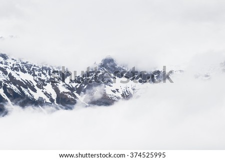 Snowy mountains in the Alps near Innsbruck - stock photo