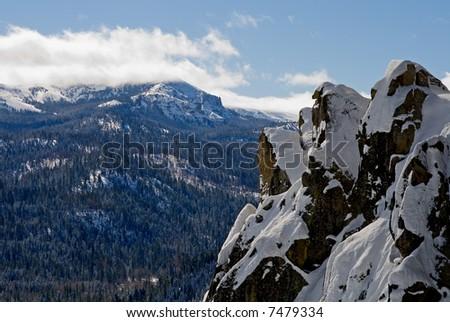 Snowy mountains near Lake Tahoe - stock photo