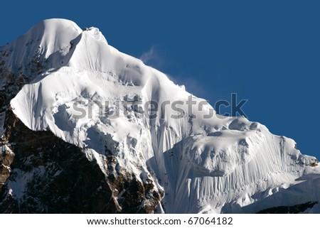 Snowy mountains of Tibet. India, trek to Kanchanjungha - stock photo