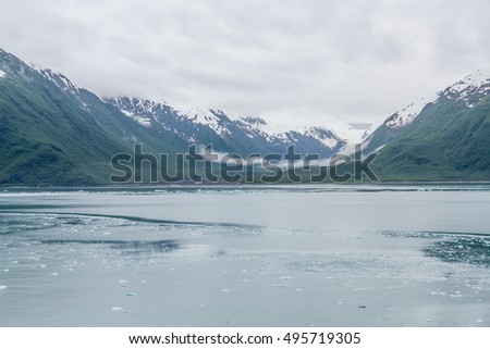 Snowy mountains off the icy waters of Alaska