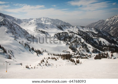 Snowy Mountains with Fresh Powder Ready for Skiing